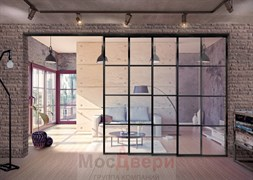 Раздвижная алюминиевая перегородка Loft Classica 405K Черная стекло Lacobel прозрачное