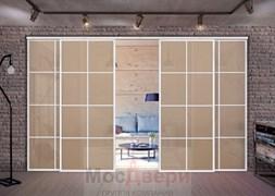 Раздвижная алюминиевая перегородка Loft Classica 408U Белая стекло Lacobel Бронза