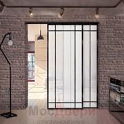 Раздвижная алюминиевая перегородка Loft Classica 211U Черная стекло Lacobel Белый
