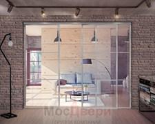 Межкомнатная перегородка раздвижная алюминиевая Horman Loft Classica 304U Металлик стекло Lacobel прозрачное