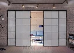 Раздвижная алюминиевая перегородка Loft Classica 306K Черная стекло Lacobel Графит
