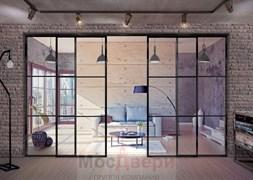 Раздвижная алюминиевая перегородка Loft Classica 404U Черная стекло Lacobel прозрачное