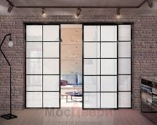 Раздвижная алюминиевая перегородка Loft Classica 309U Черная стекло Lacobel Белый