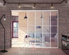 Межкомнатная перегородка раздвижная алюминиевая Horman Loft Classica 303K Белая стекло Lacobel прозрачное