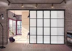 Раздвижная алюминиевая перегородка Loft Classica 405K Черная стекло Lacobel Белый