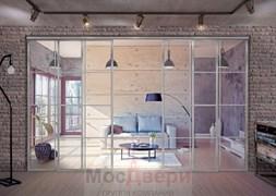 Раздвижная алюминиевая перегородка Loft Classica 408U Металлик стекло Lacobel прозрачное