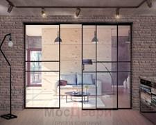 Межкомнатная перегородка раздвижная алюминиевая Horman Loft Maxima 302U Черная стекло Triplex прозрачное