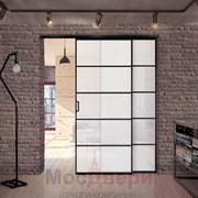 Межкомнатная перегородка раздвижная алюминиевая Horman Loft Maxima 303K Черная стекло Triplex Белый