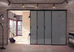 Межкомнатная перегородка раздвижная алюминиевая Horman Loft Maxima 401K Черная стекло Triplex Графит