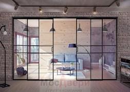 Раздвижная алюминиевая перегородка Loft Maxima 402U Черная стекло Triplex прозрачное