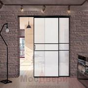 Межкомнатная перегородка раздвижная алюминиевая Horman Loft Maxima 302K Черная стекло Triplex Белый