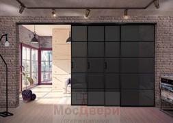 Раздвижная алюминиевая перегородка Loft Maxima 403K Черная стекло Triplex Черный