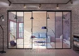 Раздвижная алюминиевая перегородка Loft Maxima 401U Черная стекло Triplex прозрачное