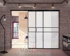 Раздвижная алюминиевая перегородка Loft Maxima 202U Черная стекло Triplex Белый
