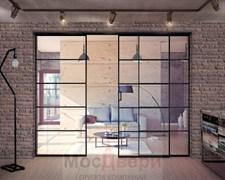 Межкомнатная перегородка раздвижная алюминиевая Horman Loft Maxima 303U Черная стекло Triplex прозрачное