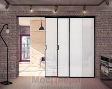 Межкомнатная перегородка раздвижная алюминиевая Horman Loft Maxima 301K Черная стекло Triplex Белый