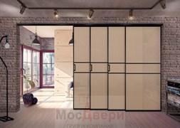 Межкомнатная перегородка раздвижная алюминиевая Horman Loft Maxima 402K Черная стекло Triplex Бронза