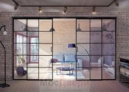 Межкомнатная перегородка раздвижная алюминиевая Horman Loft Maxima 403U Черная стекло Triplex прозрачное