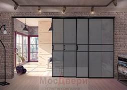 Раздвижная алюминиевая перегородка Loft Maxima 402K Черная стекло Triplex Графит