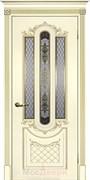 Межкомнатная дверь Эмаль Domenica Avorio patina Oro со стеклом