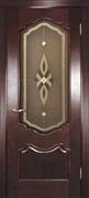 Межкомнатная дверь Бонне Махагон Витраж Бронза со стеклом