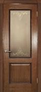 Межкомнатная дверь Николь Античный дуб Витраж Бронза со стеклом
