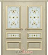 Дверь распашная двустворчатая Пассаж Софт бежевый Витраж со стеклом (2 ст)