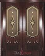 Дверь распашная двустворчатая Бонне Махагон Витраж Бронза со стеклом