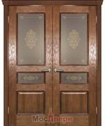 Дверь распашная двустворчатая Авиньон Античный дуб Витраж Бронза со стеклом