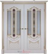 Дверь распашная двустворчатая Эмаль Amazzoni Avorio patina Oro со стеклом