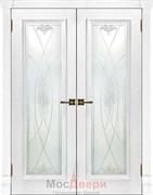 Дверь распашная двустворчатая Медея Дуб Молочный со стеклом