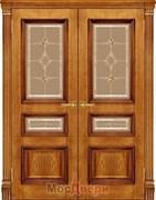 Дверь распашная двустворчатая Пенелопа Дуб Брандо со стеклом