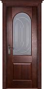 Межкомнатная дверь Массив Дуба Двери Белоруссии Шеффилд Красное Дерево со стеклом