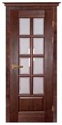 Межкомнатная дверь Массив Ольхи Двери Белоруссии Портленд Красное Дерево со стеклом