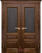 Дверь распашная двустворчатая Массив Дуба Двери Белоруссии Оксфорд Дуб Винтаж Кристалл со стеклом