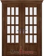 Дверь распашная двустворчатая Массив Ольхи Двери Белоруссии Портленд Дуб Винтаж со стеклом
