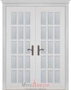 Дверь распашная двустворчатая Массив Ольхи Двери Белоруссии Астон Белый Классик со стеклом