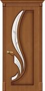 Межкомнатная дверь FL-20 Орех натуральный со стеклом