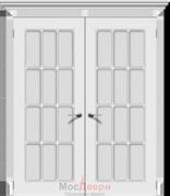 Дверь распашная двустворчатая Эмаль Azzura Bianco со стеклом