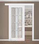 Раздвижная одностворчатая дверь Эмаль Azzura Bianco со стеклом