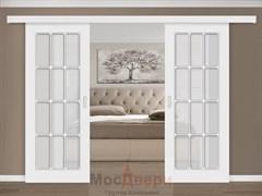 Раздвижная двустворчатая дверь Эмаль Azzura Bianco со стеклом
