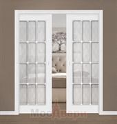 Дверь пенал раздвижная встроенная двустворчатая Эмаль Azzura Bianco со стеклом