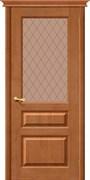 Межкомнатная дверь Массив сосны M-5 Светлый Дуб Квадро сатинато Бронза со стеклом