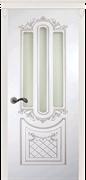 Межкомнатная дверь Эмаль Albertina Bianco patina Argento со стеклом
