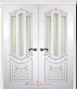 Дверь распашная двустворчатая Эмаль Albertina Bianco patina Argento со стеклом