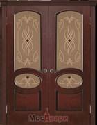 Дверь распашная двустворчатая Рошель Дуб-коньяк со стеклом