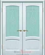 Дверь распашная двустворчатая Роксолана Ясень Жемчуг со стеклом