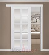 Раздвижная одностворчатая дверь Эмаль Ornella Bianco со стеклом