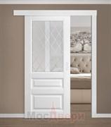 Раздвижная одностворчатая дверь Эмаль Magica Bianco со стеклом