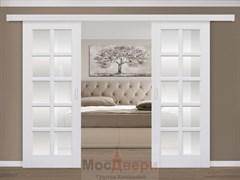 Раздвижная двустворчатая дверь Эмаль Ornella Bianco со стеклом